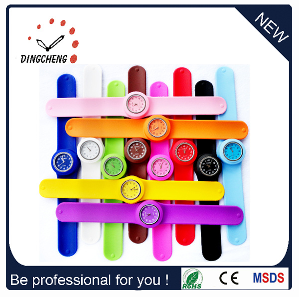Promotion Gift Colorful Silicone Snap on Watch (DC-098)