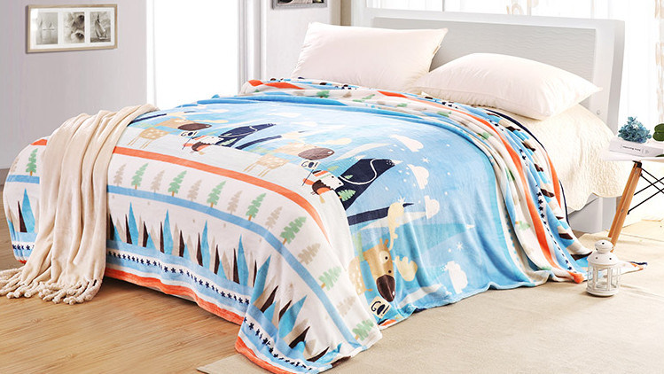 Super Soft Solid/Printed Flannel Blanket Sr-B170219-20 Solid/Printed Coral Fleece Blanket