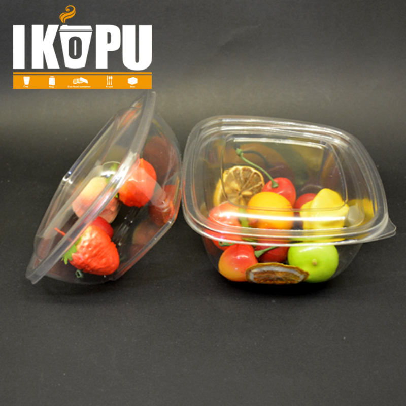 Salad Bowl Vegetable Fruit Salad Pet Plastic Cup with Lid 8oz 12oz 16oz 24oz 32oz