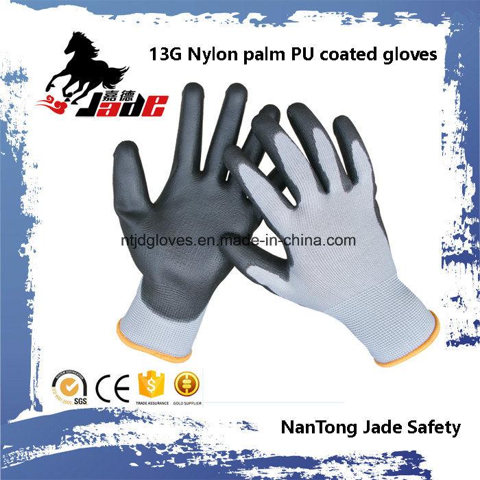 13G Nylon Palm Black PU Coated Gloves.
