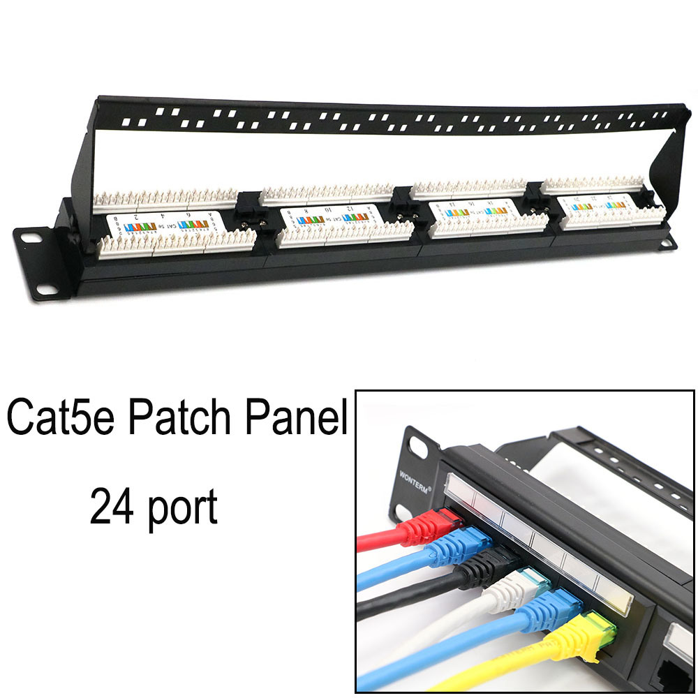 UTP 19 Inch Cat5e Network Wall Mount Patch Panel 24 Port Black / Grey / Lvory