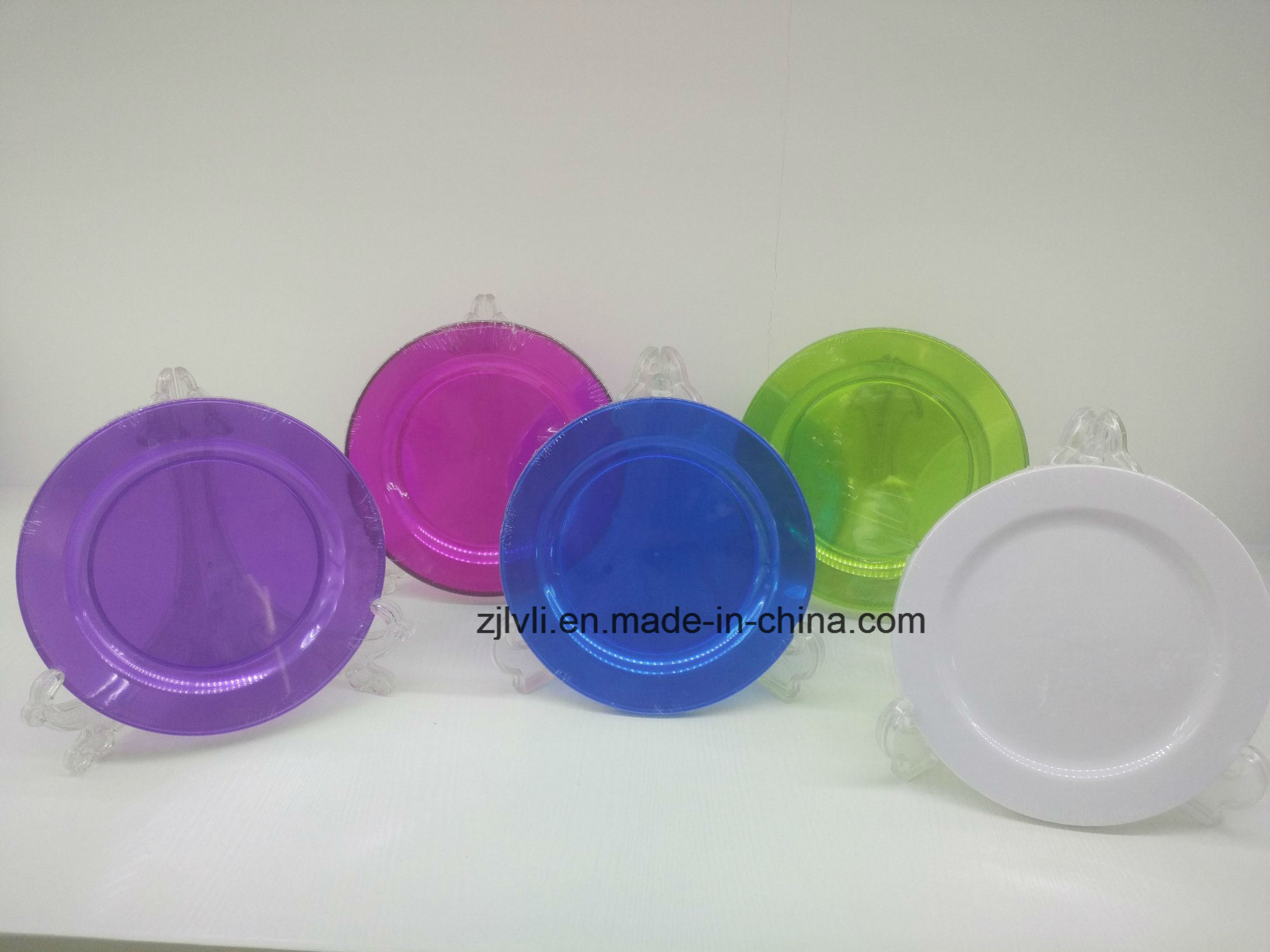 Plastic Plate, Disposable, Tableware, Tray, Dish, Colorful, PS, Clear, White, Plate, Transparent, PA-03