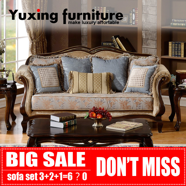 American Classical Fabric Sofa for Living Room Antique Home Furniture Set