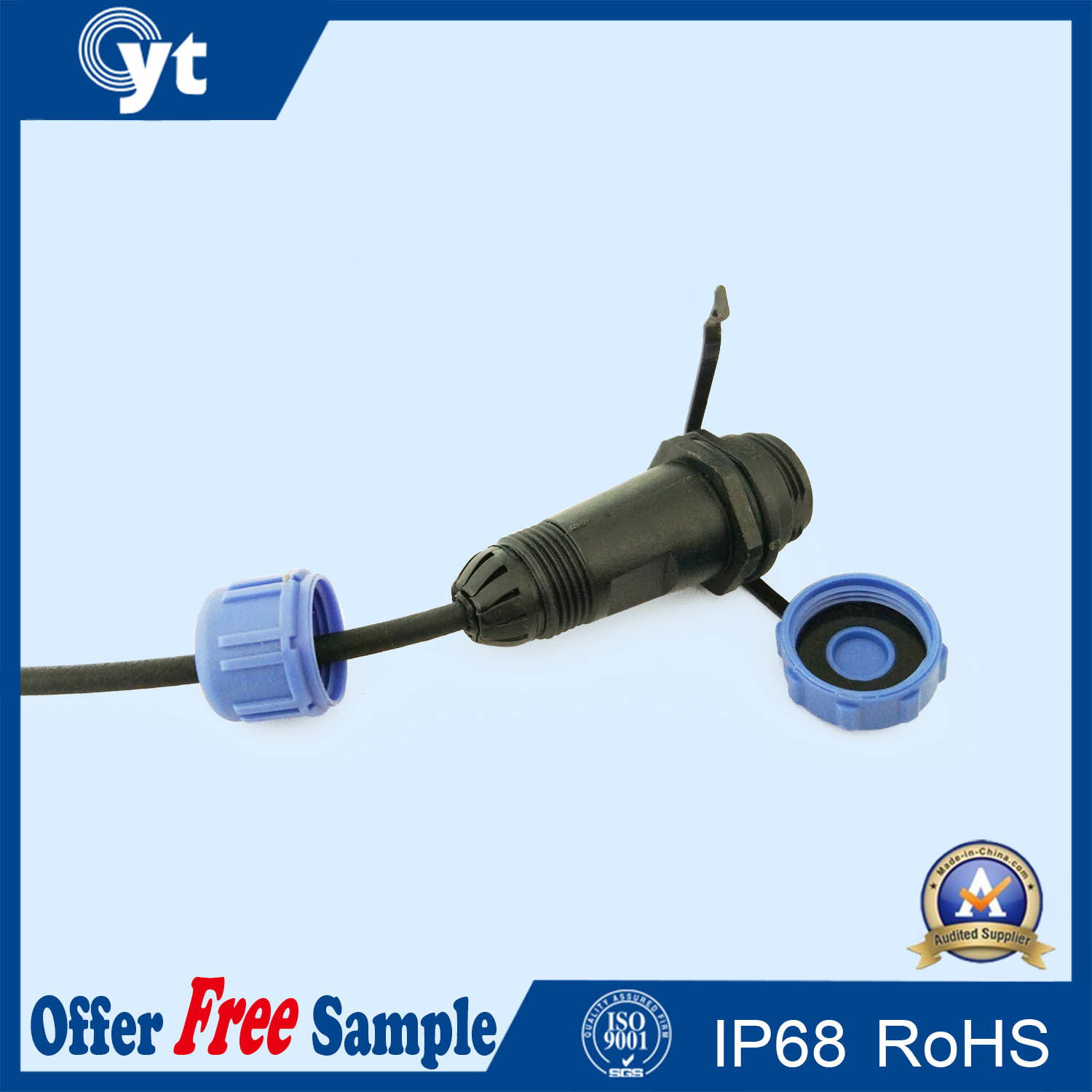 Plastic Outdoor 2 Pin Cable Connector with Dust Cover