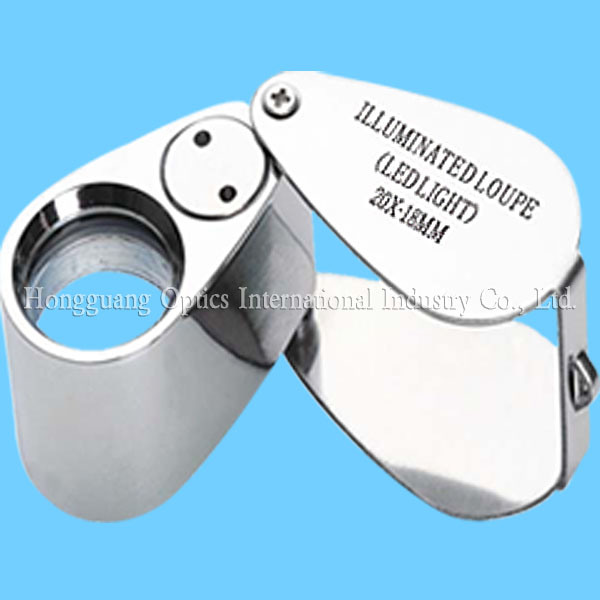 Metal Folding LED Lighting Jewellery Magnifier