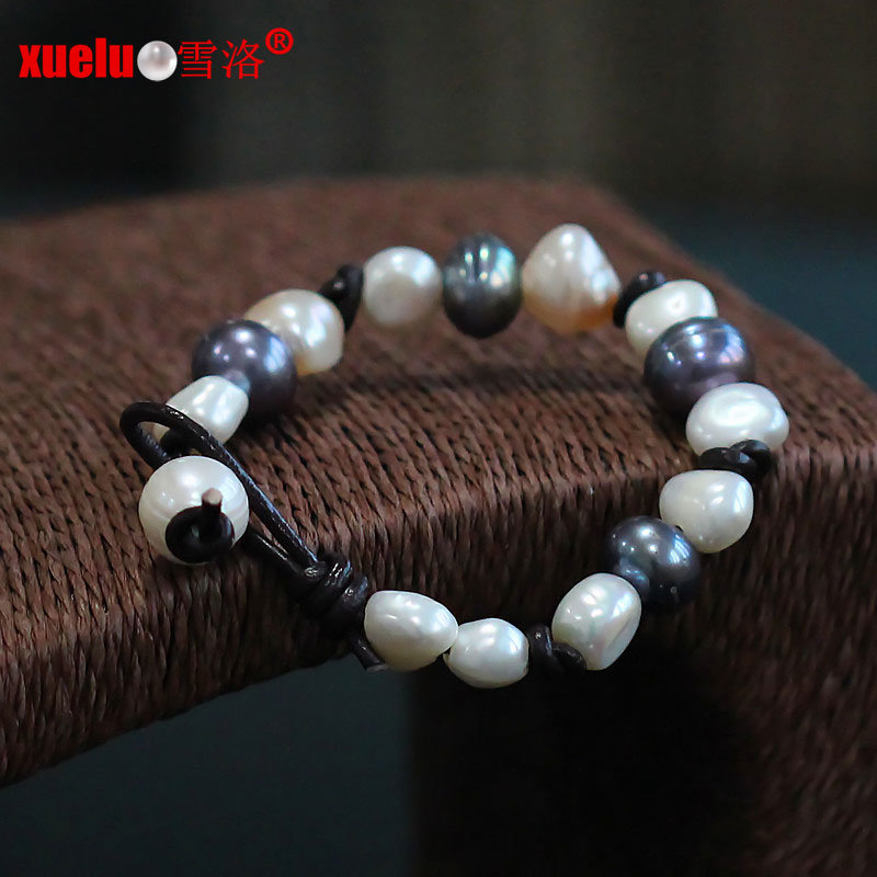 Fashion Real Leather Natural Baroque Freshwater Pearl Bracelet (E150057)
