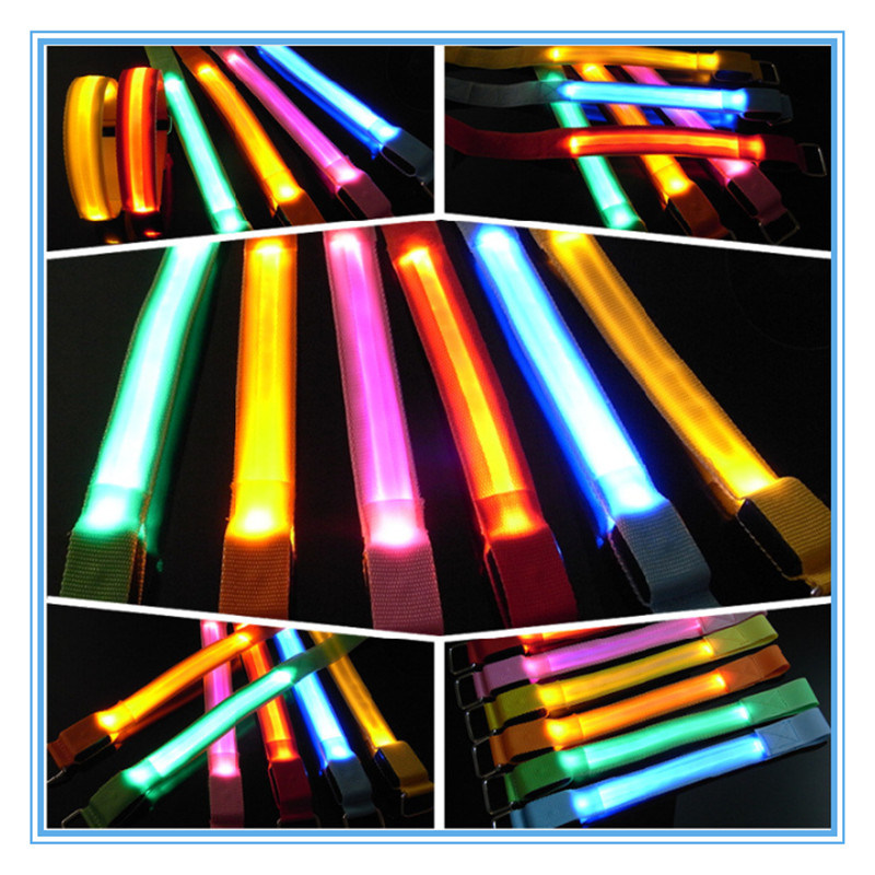Outdoor Sports Equipment LED Sport Running Safety Flashing Canvas Stripe Arm Belt