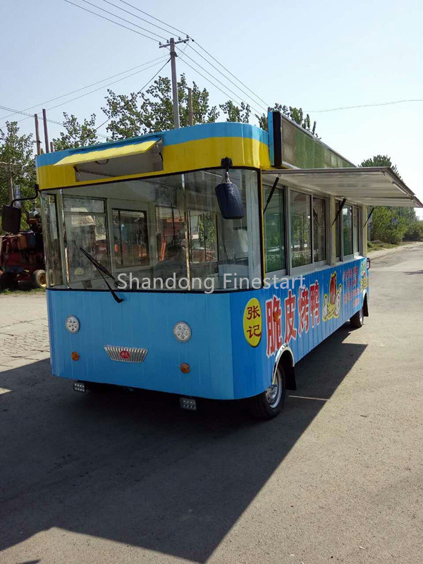 Mobile Fast Food Electric Dining Car for Making BBQ Teppanyaki Hotpot and Hotdog Hamburgar
