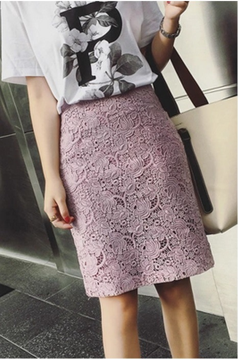 Women Fashion Apparel Dresses Lace Pencil Office High Waist Skirt