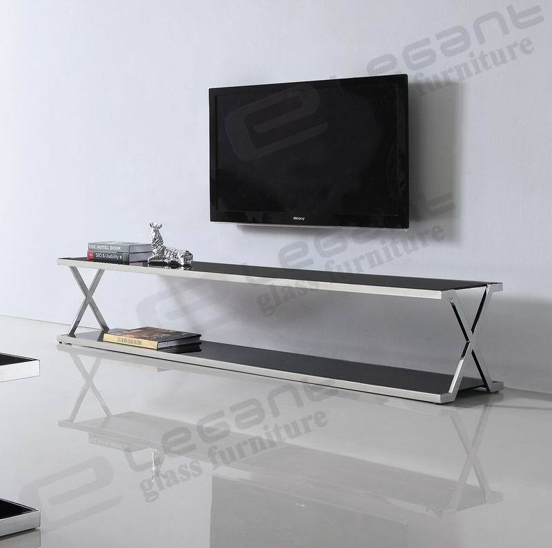 Tempered Glass TV Stand with Stainless Steel Frame
