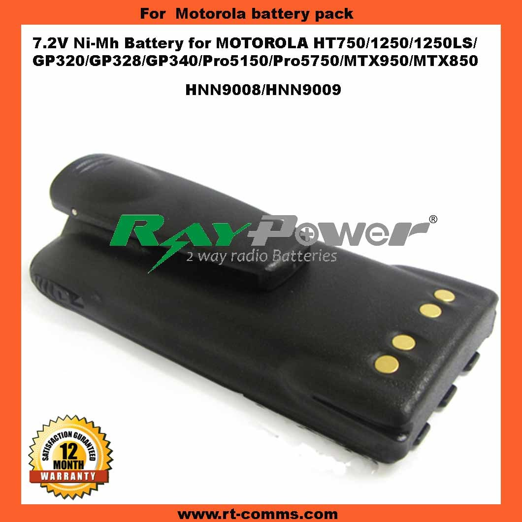 Two Way Radio Battery Hnn9008/Hnn9009 Ni-MH Replacement for Motorola Gp320/Gp328/Ht750