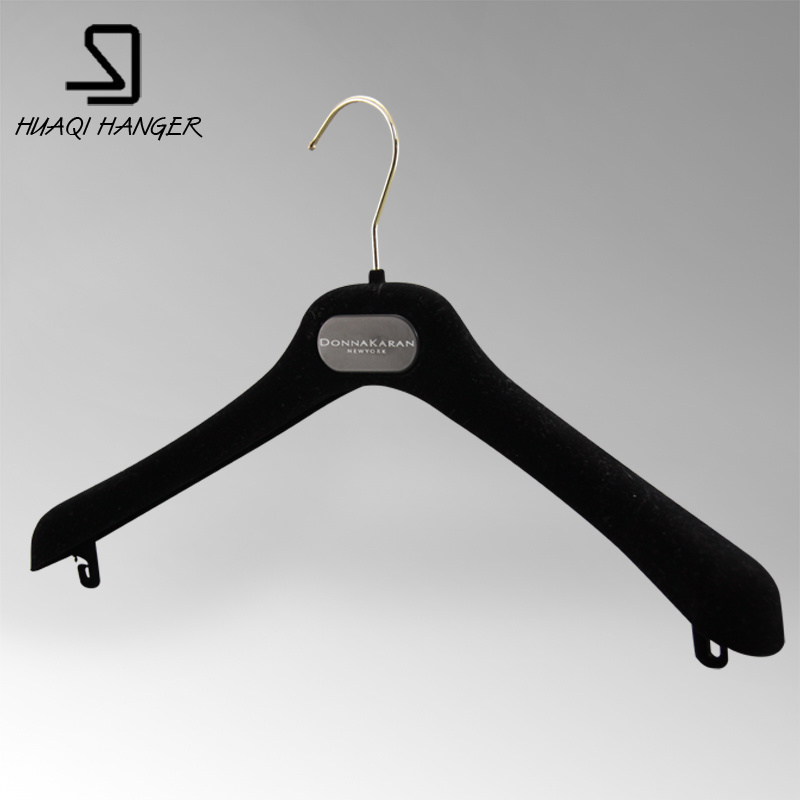 Huaqi Flocked Shoulder Black Female Plastic and ABS Hanger