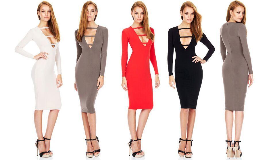 Black Deep Neck Women Club Dress Long Sleeve Evening Dress