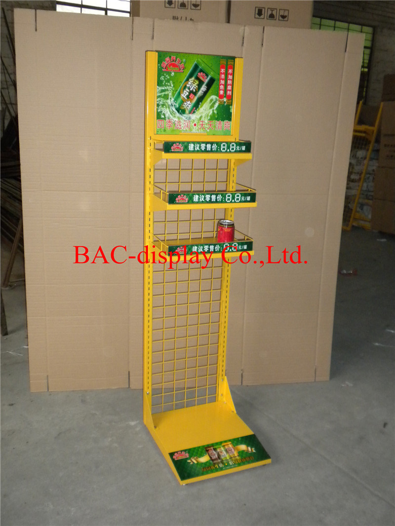 Factory Direct Sale Metal Frame Floor Display Stand for Softdrink