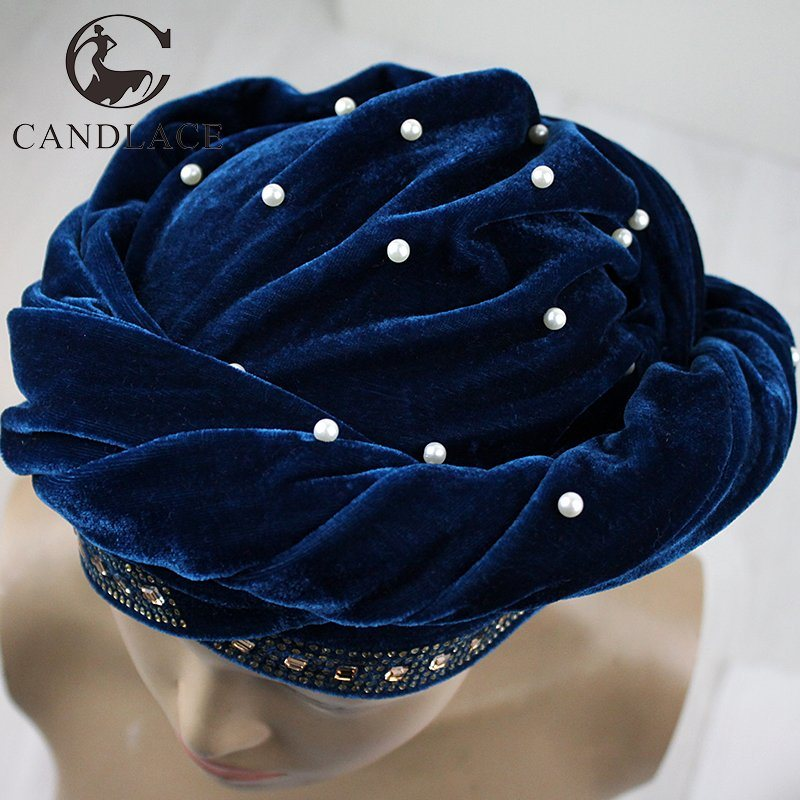 New Fashion Beaded Velvet Head Scarf