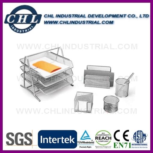 School Desk 5PCS Siliver Metal Mesh Office Stationery Sets