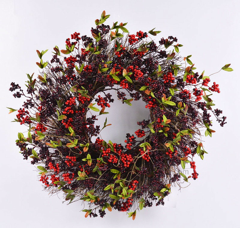 Hand-Made Fake 24′′ Christmas Wreath for Home & Office Decoration