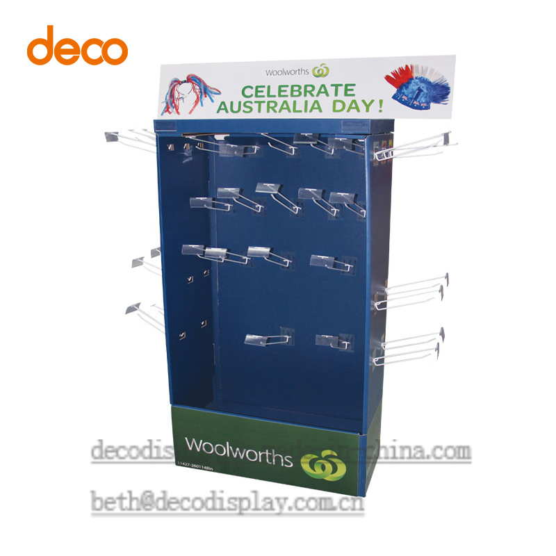 Customized Promotion Cardboard Poster Display Printing Stand with Hook