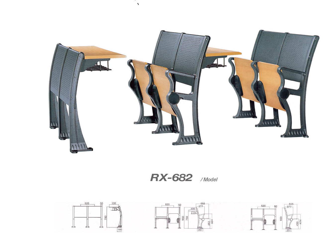 Wooden and Metal School Furniture Set (RX-682)