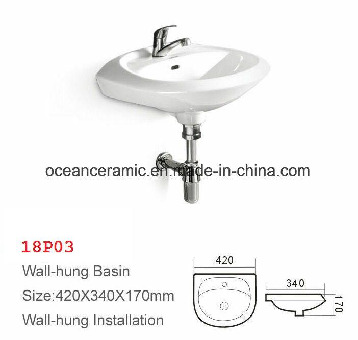 British Style, Samll Basin, Lavatory, Sink, Square Wall Hung Wash Basin