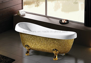 Freestanding Classic Bathtub with Golden Mosaic (K1521)