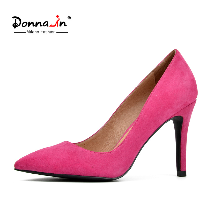 Lady Pointed-Toe High Heels Pumps Women Suede Leather Dress Shoes
