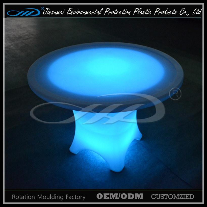PE Material Plastic LED Bar Round Table for Restaurant