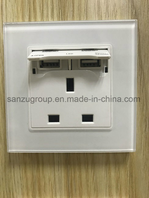 BS Style White Gold USB Socket Glass Wall Socket