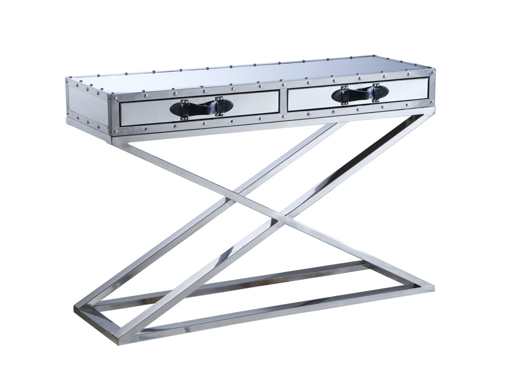 Classic Stainless Steel with Drawers Console Table, Cross Steel Console Rtk-92-2