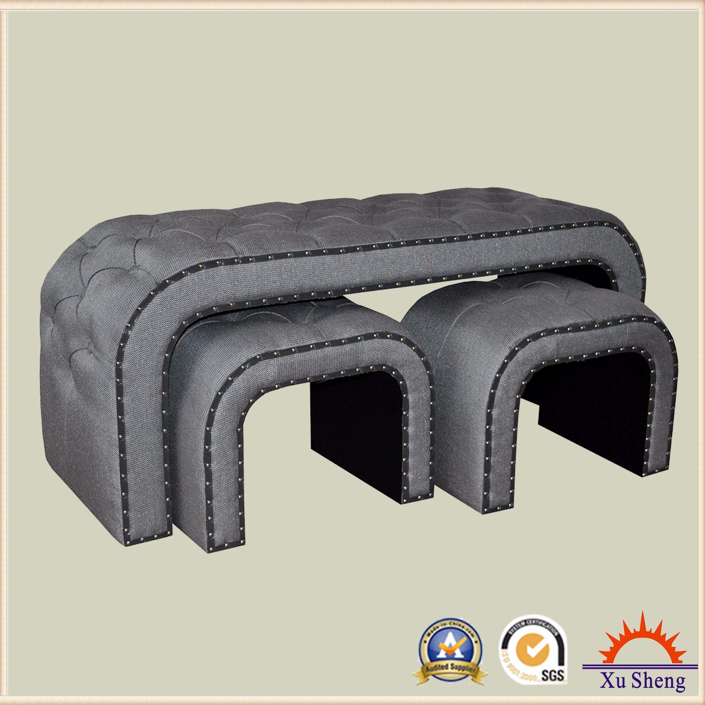 Modern Furniture Living Room Furniture Upholstered Curved Button Tufted Fabric Bench Ottoman