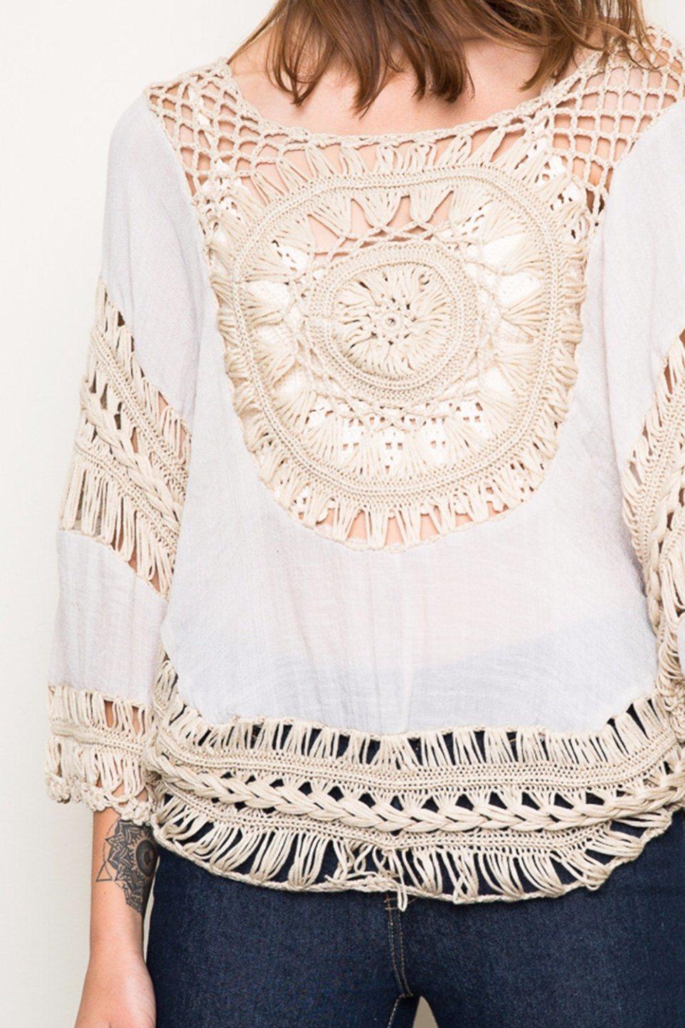 Ladies Contrast Color Handmade Crochet Tops