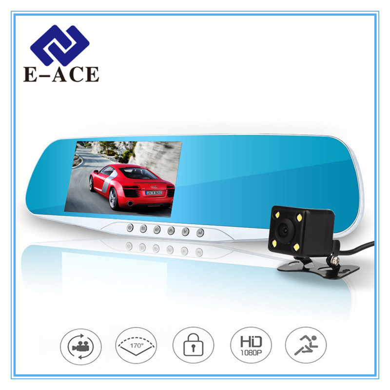 Dual Lens blue Review Mirror Digital Video Recorder Night Vision Car DVR