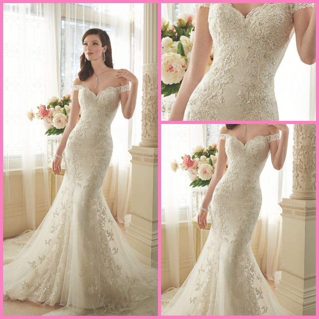 China Mermaid Off-Shoulder Bridal Gowns Lace Tulle Beaded