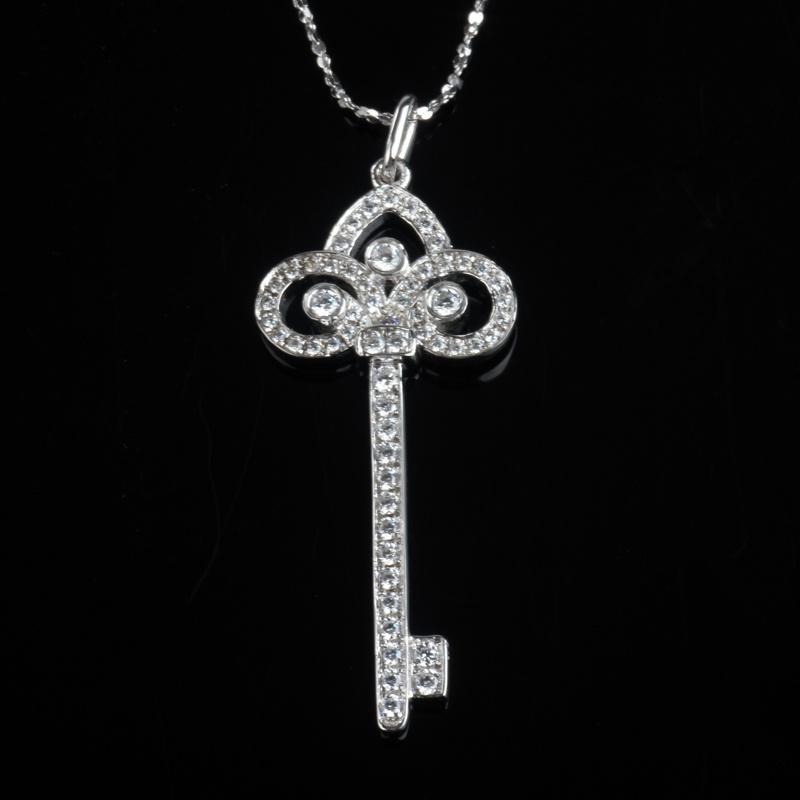 CZ Channel Setting Fashion Key Shape Jewelry Necklace Pendant