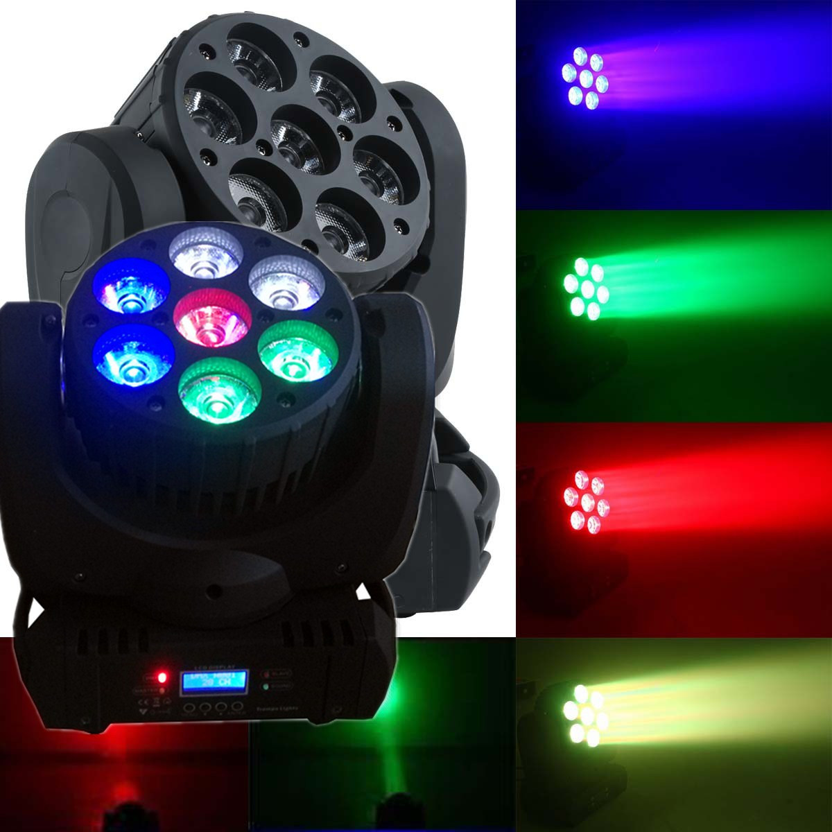 7 *12W RGBW 4 in 1 Mini LED Beam Moving Head