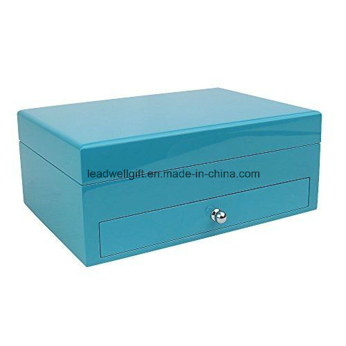 Blue High Gloss Finish Jewelry Box Storage Case