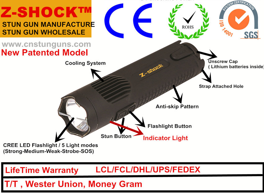 New Patented Stun Gun with CREE LED Flashlight