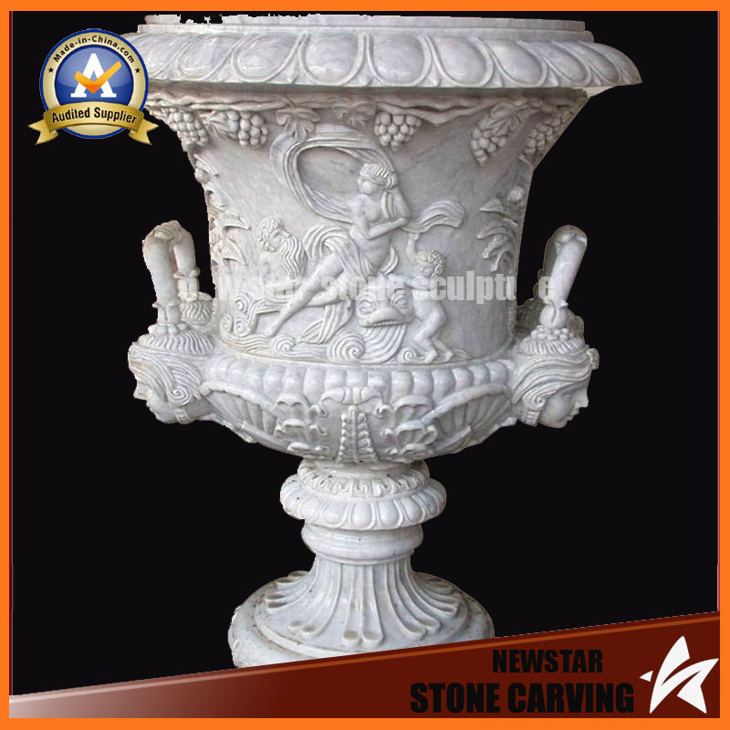 Lady and Child Surface Stone Carving Flower Pot Stand for Garden (NS-11P8)