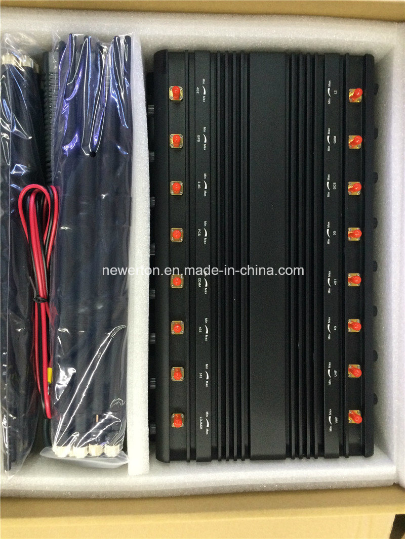 16 Antennas Mobile Phone Signal Isolator/ WiFi GPS Jammer/VHF UHF Jammer/Lojack Jammer/ 315/433/868MHz RF Radio Signal Jammer