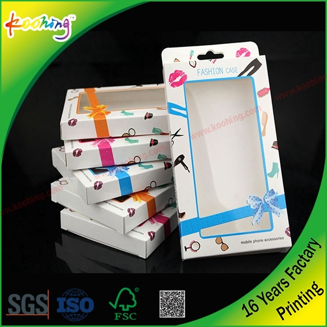 Factory Custom Clear PP/ Pet Color Plastic Packaging Box for Phone Case with Hanger