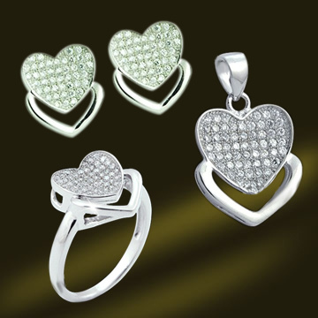 New Arrival Heart Shape Bridal Micro Pave Setting Jewelry Set