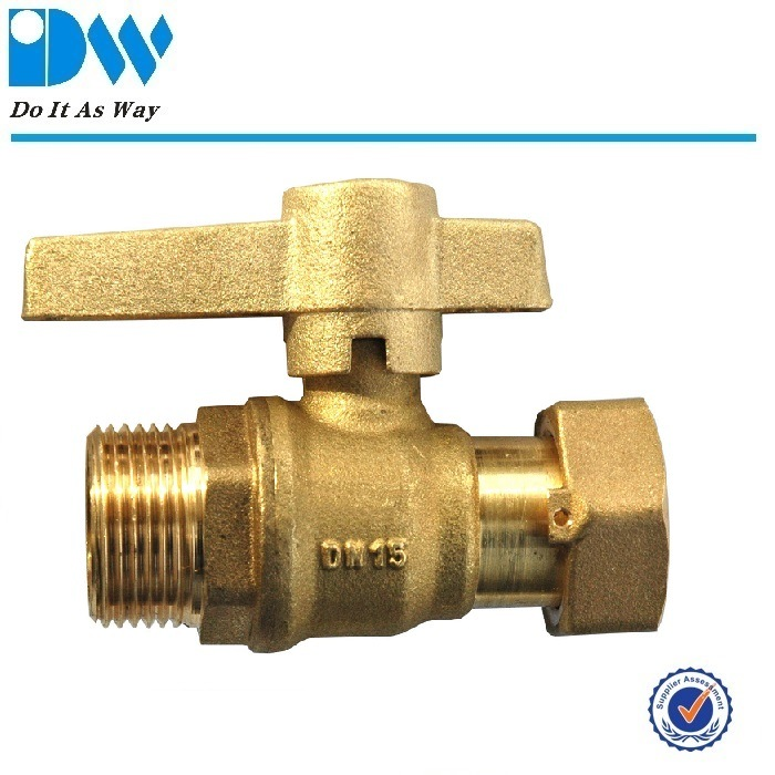 Brass Ball Valve with Deca Fittings for Water Meter