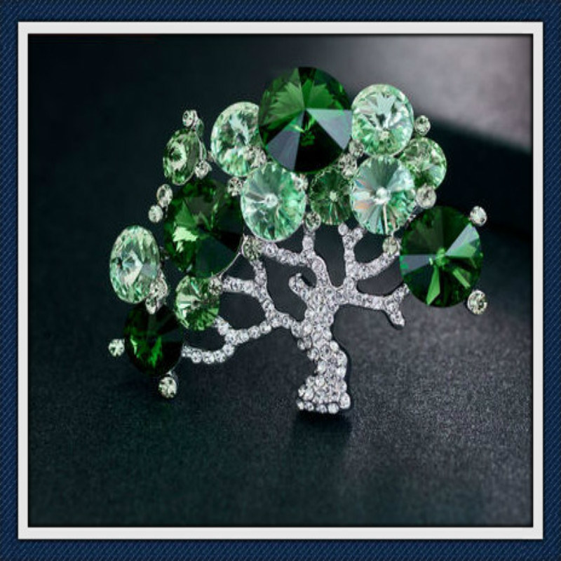 New Design Fashion Tree Glass Stones Fashion Jewellery Brooch