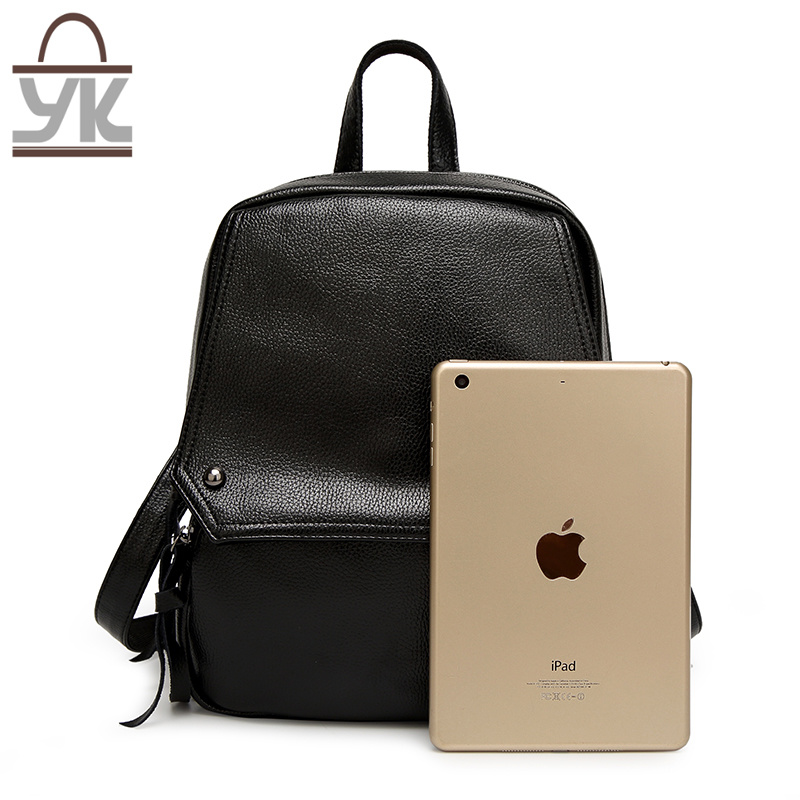 Fashion Super Capacity Black PU Leather Lady Backpack