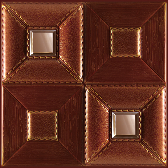 3D Ceiling and Wall Panel with Carved Leather