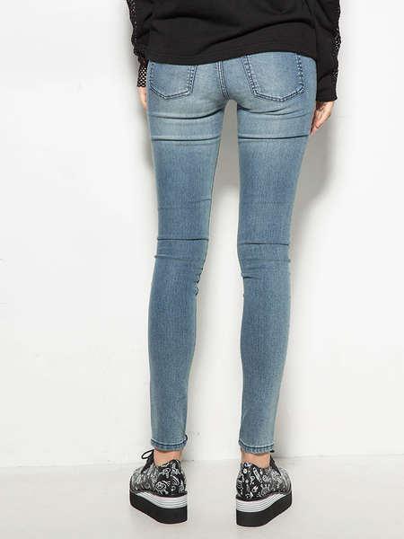 Hot Selling Fashion Damaged Plain Skinny Women Jeans