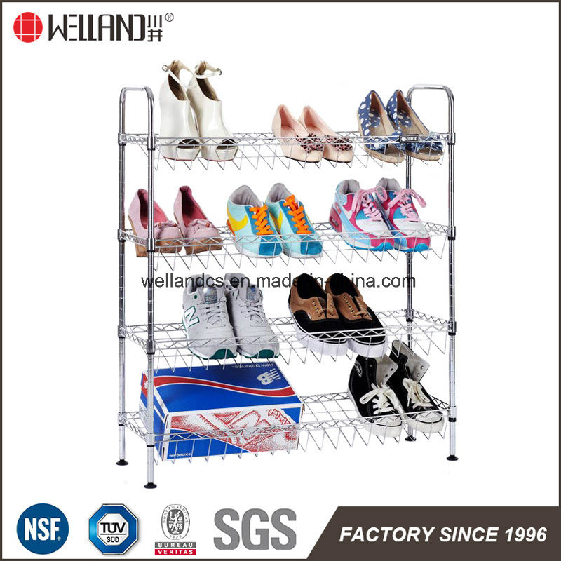 Salanted 4 Tiers Adjustable Chrome Metal Shoe Rack (CJ-B1112)