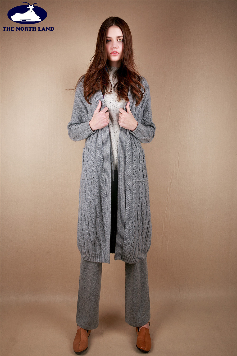 Cashmere Long Cardigan with Cables