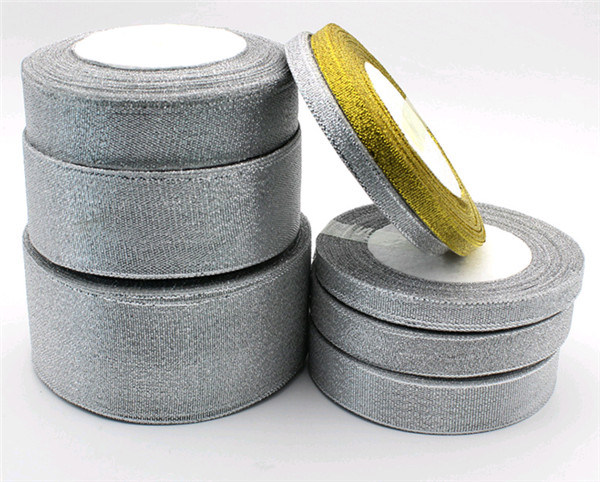 Wholesale Polyester Silvery Metallic Ribbon