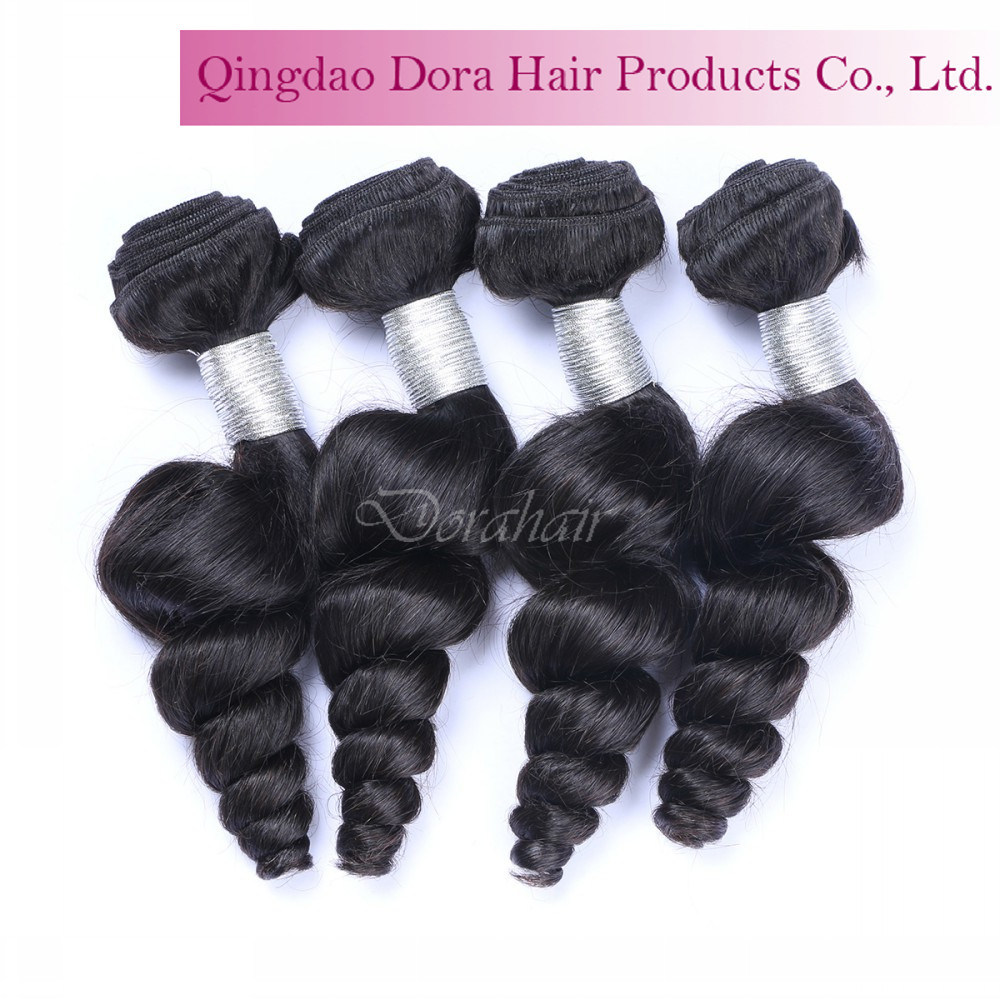 Top Quality Peruvian Human Hair Weft Natural Black Unprocessed Virgin Hair